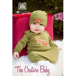 Dragon Boys Green Layette Gown & Hat Set