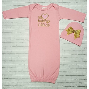 """""""My Heart Belongs to Daddy"""" Pink Layette Gown & Hat Set"""