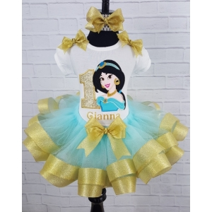 Jasmine Personalized Birthday Gold & Aqua Ribbon Tutu 3 Pc Set