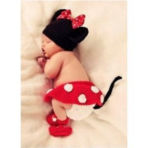 Minnie Red-White & Black 3 Pc Crochet Photo Prop Set