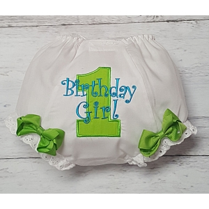 Lime Green & Teal Birthday Girl Diaper Cover Bloomers