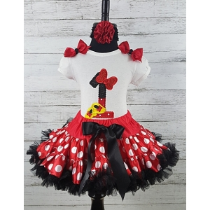 Minnie Personalized Age 1st Birthday Shirt & Petti Skirt Set with FREE Headband