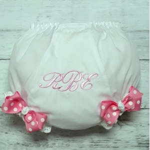 Pink & White Dot Personalized Diaper Cover Bloomers
