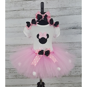 Minnie Pink & White Dot Personalized Shirt Headband & Tutu 3 Pc. Set
