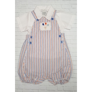 Boy 2 Pc. Seersucker Pin Stripe Romper & Shirt