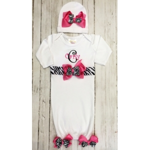Zebra Bows Couture Personalized White Layette Gown & Hat Set