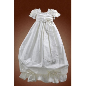 Christie Helene-White Silk Bo Peep Christening Gown Hat Bib & Shoe Set-9 months