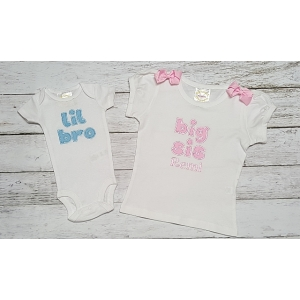 Little Brother Big Sister Personalized Onesie & Shirt 2 Piece Set