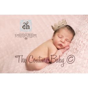 Bronze Scalloped Lace Baby Crown Photo Prop