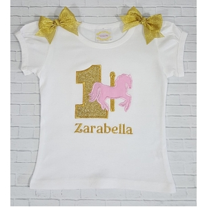 Carousel Horse Theme Personalized Shirt Or Onesie