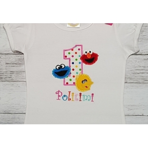 ELMO, Cookie Monster and Big Bird Personalized 1st Birthday Shirt, Onesie Tank Top Age 1 2 3 4 5