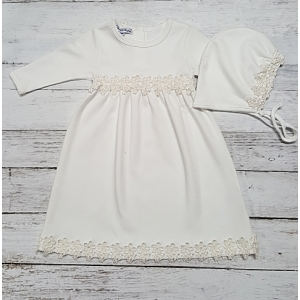 White & Ivory Floral Lace Layette Gown & Hat Set