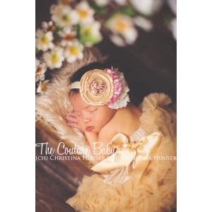 Champagne, Mauve & Ivory Pearl & Crystal Bow Vintage Headband