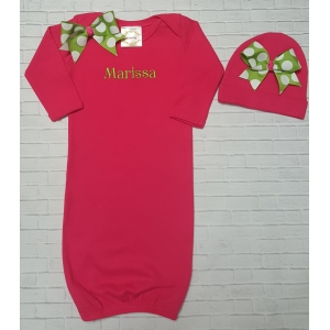 Hot Pink & Lime Green Personalized Layette Gown