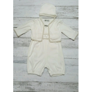 Boy's White Knit Christening Romper, Jacket & Hat Set