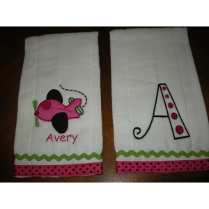 Personalized Initial & Airplane Burp Cloths  Set of 2