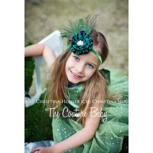 Pretty Peacock Feather Teal  & Green Sparkle Headband