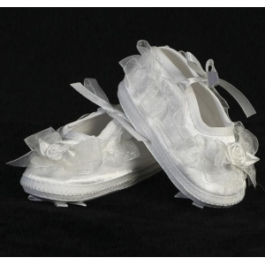 White Satin Ruffle Christening Booties w Rosette