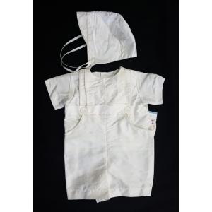 Boy's Christening Ivory Silk Romper & Hat (3 months)
