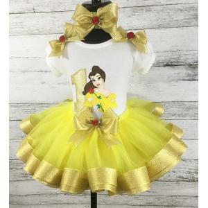 "Belle ""Beauty & The Beast Yellow & Gold 3 Pc. Personalized Ribbon Tutu Set"