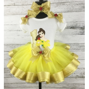 "Belle ""Beauty & The Beast Yellow & Gold 3 Pc. Personalized Ribbon Tutu Set"
