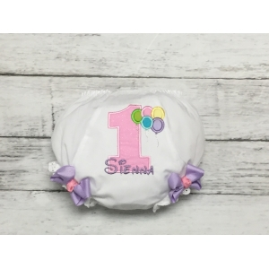 Birthday Balloons Pink & Lavender Personalized Diaper Cover Bloomers