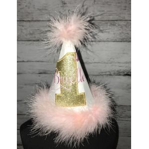 Pink & Gold Marabou Feather Trimmed Personalized Birthday Hat