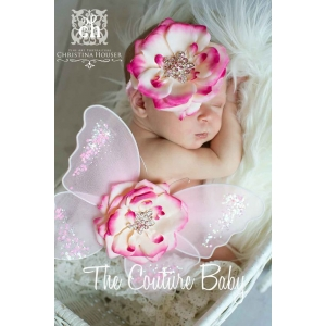 "Hot Pink & Ivory ""Le Pink"" Flower Sequin Trim Butterfly Wings & Headband 2 Piece Photo Prop Set"