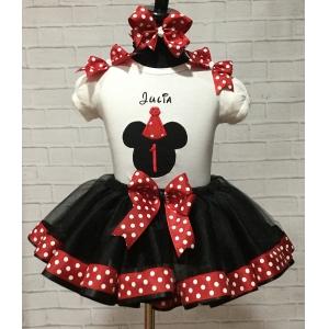 MINNIE MOUSE Birthday Red &  White Polka Dot Personalized Shirt & Ribbon Polka Dot  Ribbon Tutu 3 Piece Set