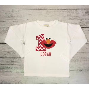 Elmo Chevron Birthday  Boy Personalized Shirt