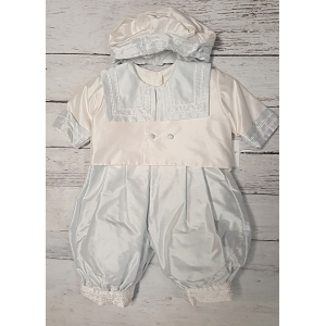 "Christie Helene ""Ian"" Ivory & Blue Silk 3 Pc Romper Jacket & Hat Christening Set (6m)"