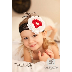 Vintage Couture Ivory & Red Headband