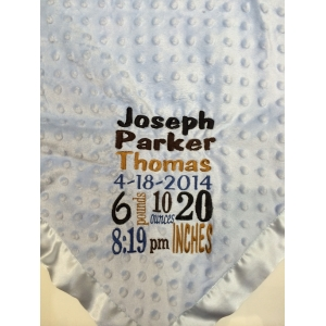 Light Blue Keepsake Birth Info Blanket