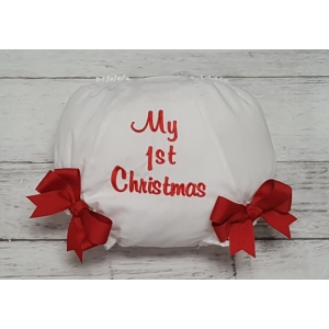 """My First Christmas"" Embroidered Diaper Cover Bloomers"