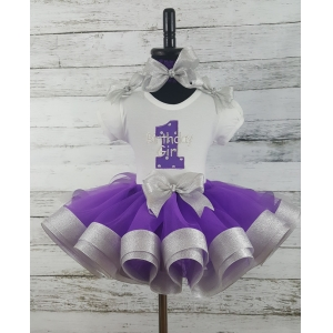 Birthday Girl Personalized Purple & Silver Ribbon Tutu 3 Pc. Set