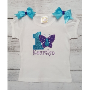 Purple & Turquoise Swarovski Crystal Butterfly Personalized Birthday Shirt Or Onesie