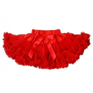 Christmas Red Chifffon Ruffle Pettiskirt