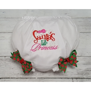 "Christmas ""Santa's Lil Princess"" Diaper Cover Bloomers"