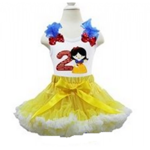 2nd Birthday Snow White Petti Skirt & Tank Top 2 Piece Set