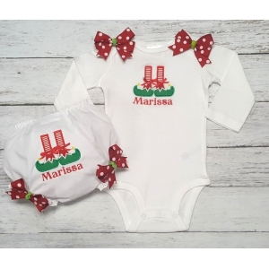 Santa's Lil Helper 2 Piece Onesie & Bloomer Set