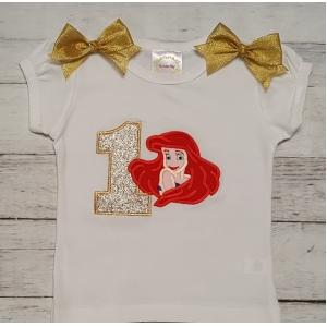 Ariel Little Mermaid Gold Green Personalized Birthday Shirt Onesie
