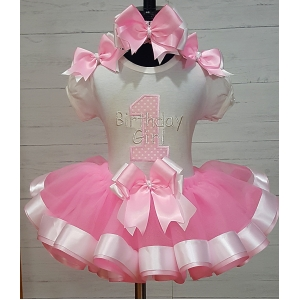 Birthday Girl Pink & White Ribbon Tutu Set