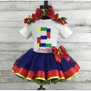 Building Blocks Ribbon Tutu 3 Piece Set