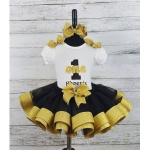 Couture Black & Gold Personalized Name & Age Ribbon Birthday Tutu 3 pc Set Age 1 2 3 4 5 6