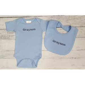 Personalized Light Blue Onesie & Bib