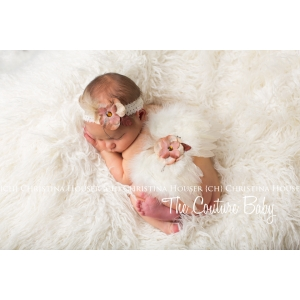 Ivory Feather Angel Wings & Headband withTan and Taupe Flowers 2 Piece Photo Prop