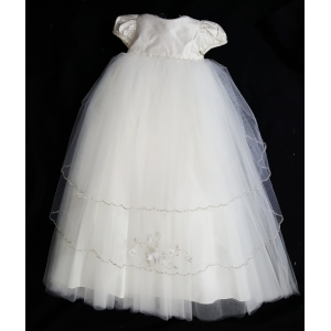 "Christie Helene ""Custom"" Ivory Silk & Tulle Crystal beaded Christening Gown & Hat Set (6m)"