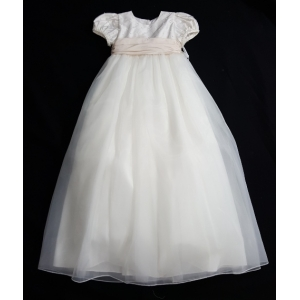 Christie Helene Custom Ivory & Blush Silk & Organza Pearl Beaded Christening Gown & Hat Set (6m)