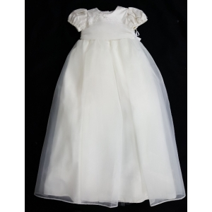 Christie Helene Ivory Silk Beaded Pearl Christening Gown & Hat Set