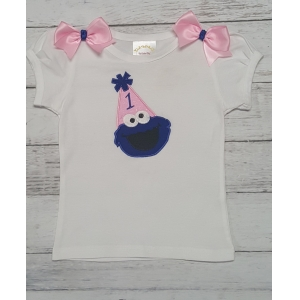 COOKIE MONSTER Pink & Blue Birthday Hat Personalized Shirt-Onesie or Tank Top